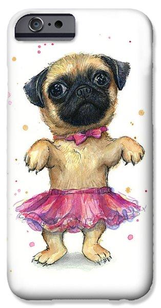 Pug In A Tutu IPhone Case by Olga Shvartsur