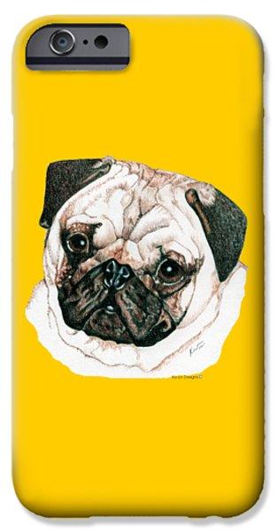 Pug IPhone Case by Kathleen Sepulveda