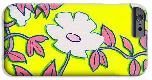 Purple Pointed Petals And Bright White Flowers Against Yellow IPhone Case by Mike Jory