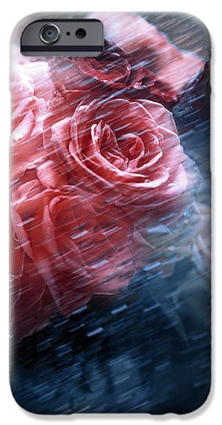 Rain Red Roses Nostalgia IPhone Case by Jenny Rainbow