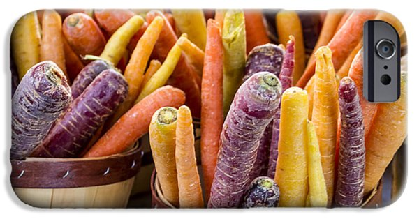 Rainbow Carrots At The Market IPhone Case by Teri Virbickis