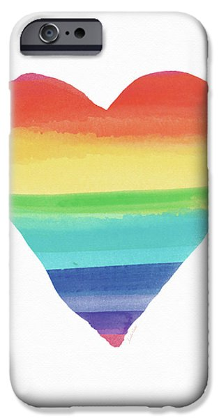 Rainbow Heart- Art By Linda Woods IPhone Case by Linda Woods