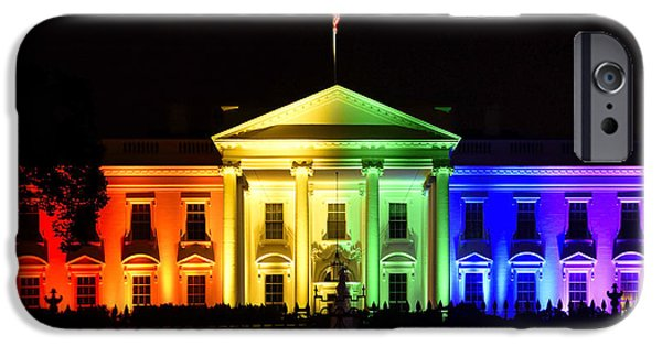 Rainbow White House  - Washington Dc IPhone Case by Brendan Reals