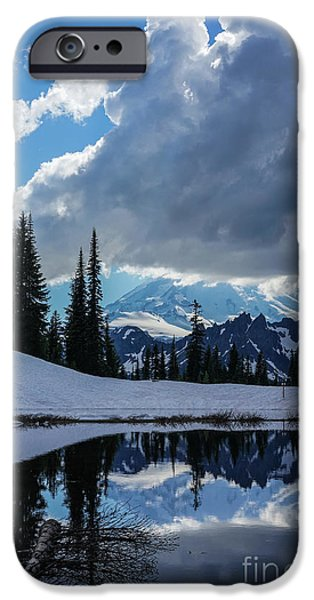 Rainier Reflection Dramatic Skies IPhone Case by Mike Reid