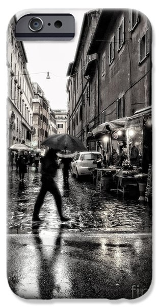 rainy night in Rome IPhone Case by HD Connelly