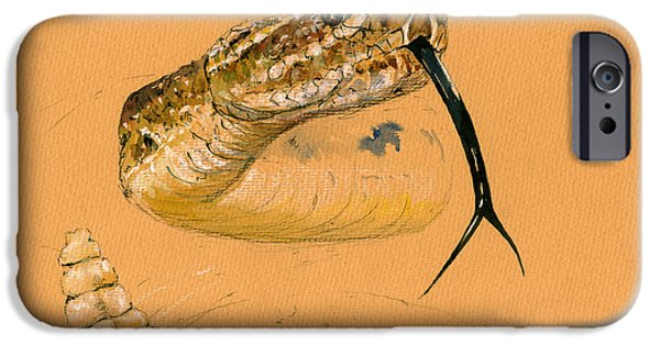 Rattlesnake Painting IPhone Case by Juan  Bosco