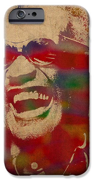 Ray Charles Watercolor Portrait On Worn Distressed Canvas IPhone Case by Design Turnpike