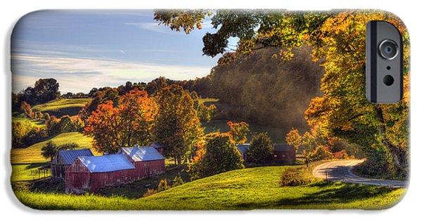 Red Barn In Autumn - Jenne Farm IPhone Case by Joann Vitali