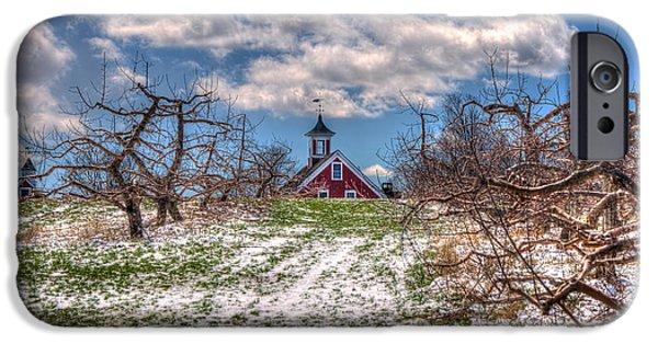 Red Barn On Farm In Winter IPhone Case by Joann Vitali
