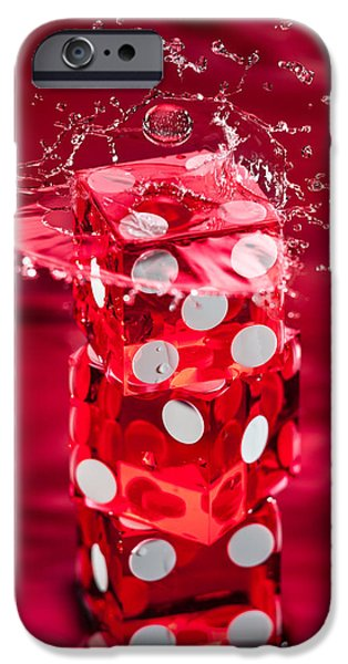 Red Dice Splash IPhone Case by Steve Gadomski