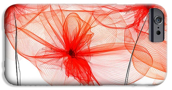 Red Floral - Red Modern Art IPhone Case by Lourry Legarde