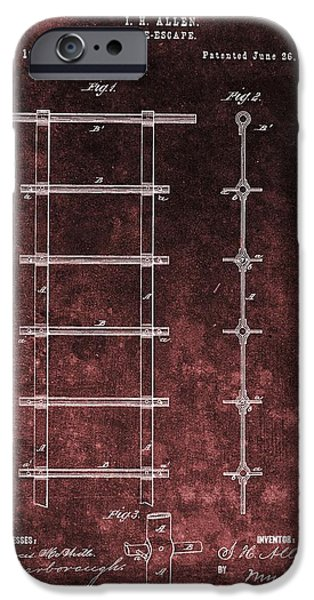 Red Grunge Fire Escape Patent IPhone Case by Dan Sproul