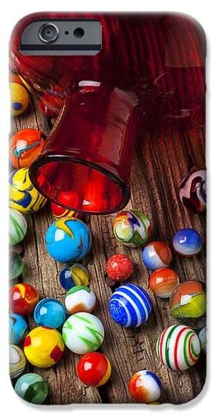 Red Jar With Marbles IPhone Case by Garry Gay