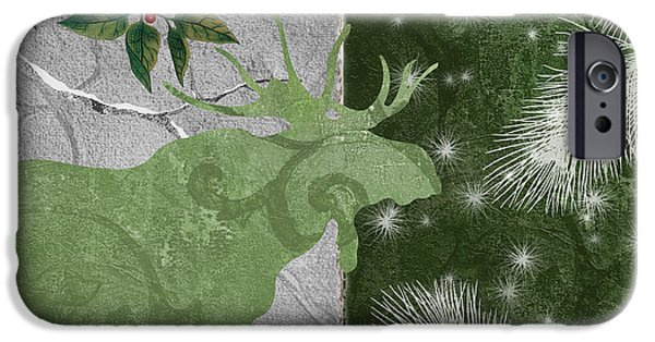 Red Moon Christmas Moose IPhone Case by Mindy Sommers
