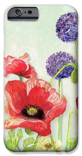 Red Poppy Purple Allium IIi - Retro Modern Patterns IPhone Case by Audrey Jeanne Roberts