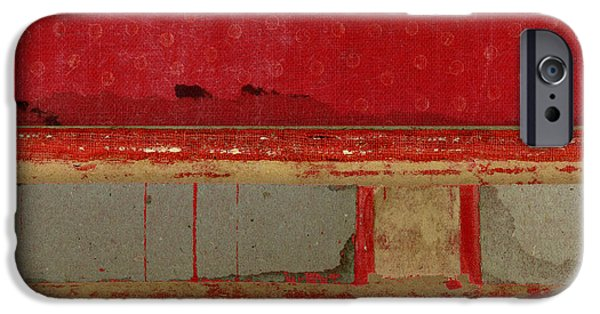 Red Riley Collage Square 1 IPhone Case by Carol Leigh