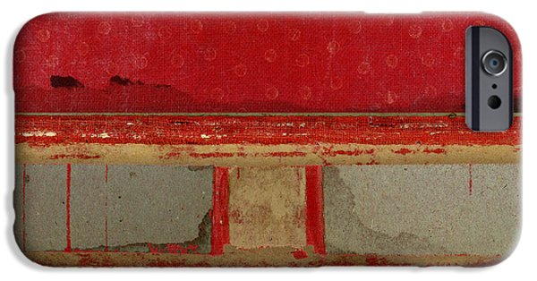 Red Riley Collage Square 2 IPhone Case by Carol Leigh