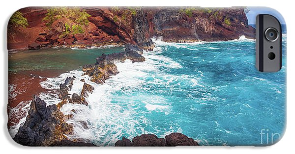 Red Sand Beach Panorama IPhone Case by Inge Johnsson