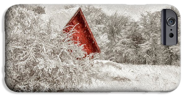 Red Shed In The Snow IPhone Case by Lois Bryan