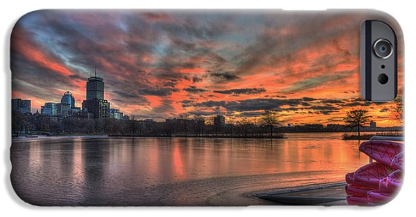 Red Sunset Over The Boston Skyline IPhone Case by Joann Vitali