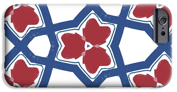 Red White And Blue Floral Motif- Art By Linda Woods IPhone Case by Linda Woods