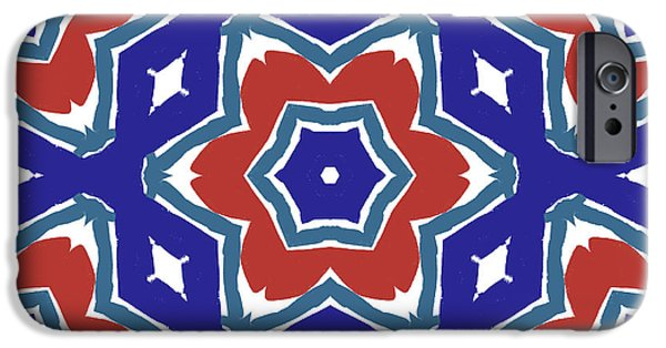 Red White And Blue Star Flowers 1- Pattern Art By Linda Woods IPhone Case by Linda Woods