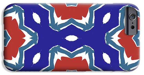 Red White And Blue Star Flowers 2 - Pattern Art By Linda Woods IPhone Case by Linda Woods