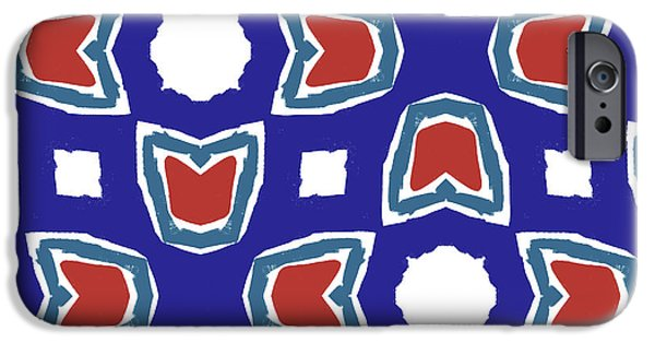 Red White And Blue Tulips Pattern- Art By Linda Woods IPhone Case by Linda Woods