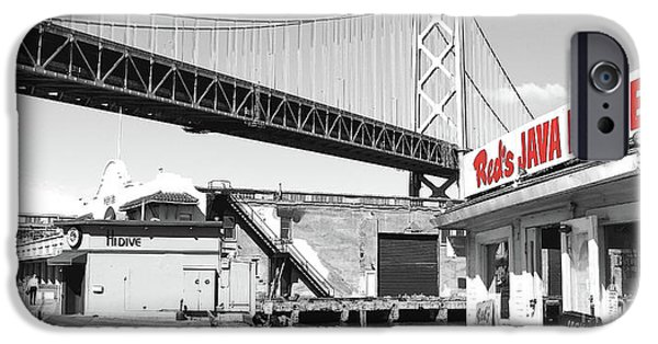Reds Java House And The Bay Bridge In San Francisco Embarcadero Black And White And Red Panoramic IPhone Case by Wingsdomain Art and Photography
