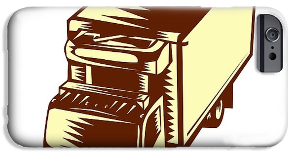Refrigerated Truck Woodcut IPhone Case by Aloysius Patrimonio