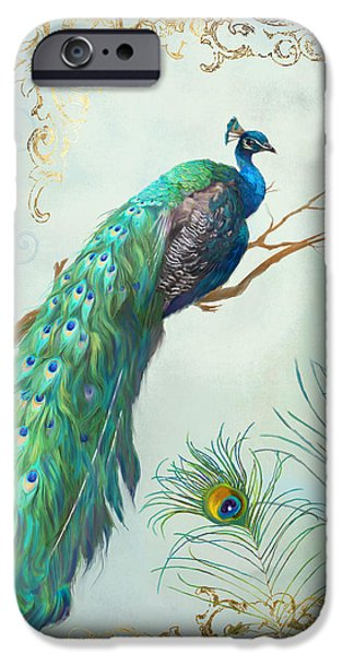 Regal Peacock 1 On Tree Branch W Feathers Gold Leaf IPhone Case by Audrey Jeanne Roberts