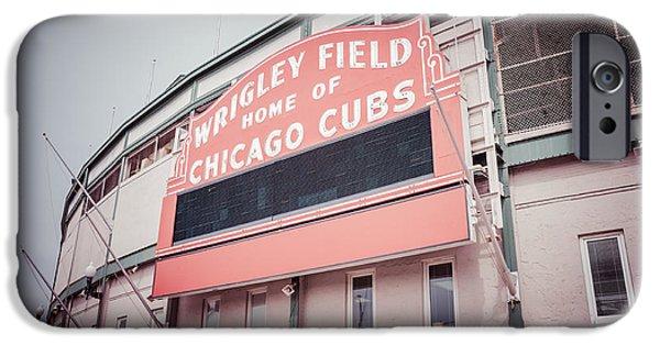 Retro Wrigley Field Sign IPhone Case by Paul Velgos