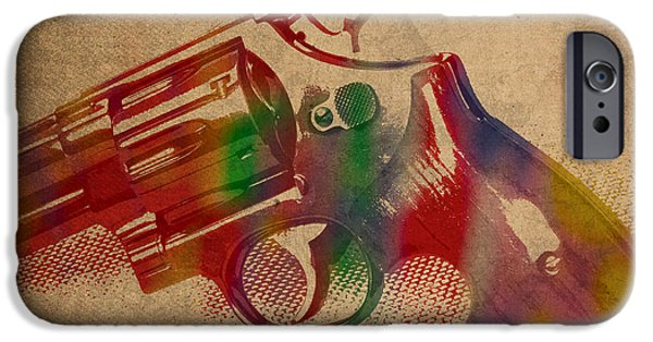 Revolver Watercolor Art Number 1 IPhone Case by Design Turnpike