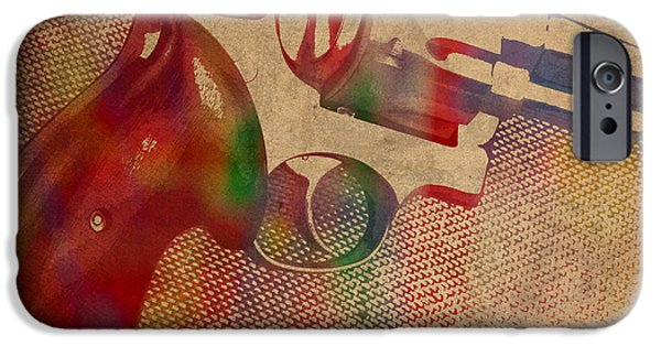 Revolver Watercolor Art Number 3 IPhone Case by Design Turnpike