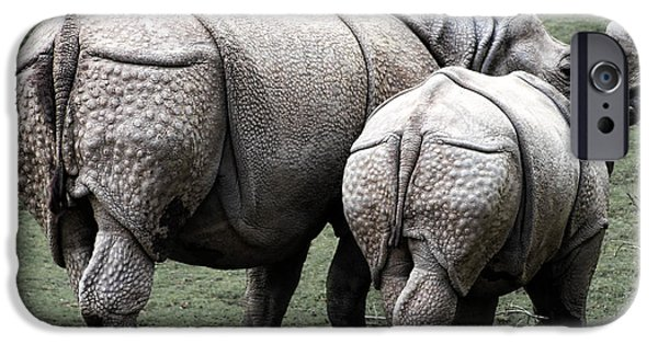 Rhinoceros Mother And Calf In Wild IPhone 6s Case by Daniel Hagerman