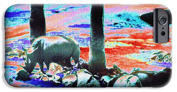 Rhinos Having A Picnic IPhone 6s Case by Abstract Angel Artist Stephen K