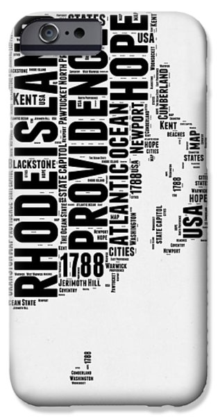 Rhode Island Word Cloud 1 IPhone Case by Naxart Studio