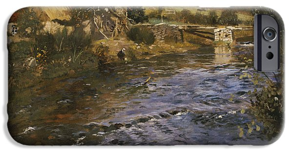 River Landscape With A Washerwoman  IPhone Case by Fritz Thaulow