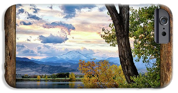 Rocky Mountain Longs Peak Rustic Cabin Window View IPhone Case by James BO Insogna