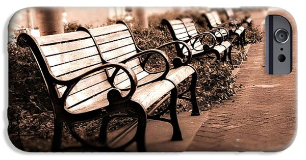 Romantic Surreal Park Bench Pink Sepia Tones IPhone Case by Kathy Fornal