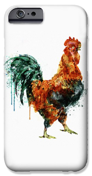 Rooster Watercolor Painting IPhone Case by Marian Voicu