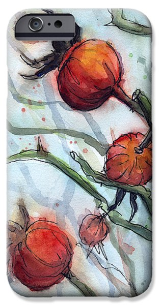 Rose Hips Abstract  IPhone Case by Olga Shvartsur