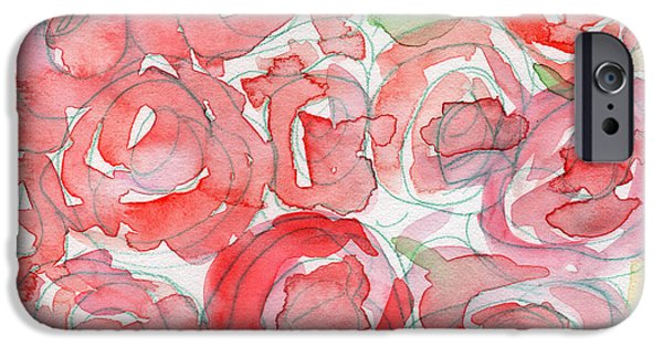 Roses On My Table- Art By Linda Woods IPhone Case by Linda Woods