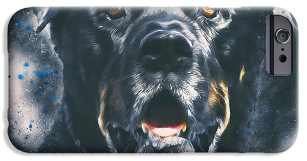 Rottweiler Portrait IPhone Case by Wolf Shadow  Photography