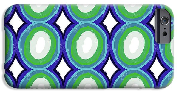 Round And Round Blue And Green- Art By Linda Woods IPhone 6s Case by Linda Woods