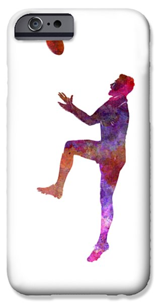 Rugby Man Player 01 In Watercolor IPhone Case by Pablo Romero