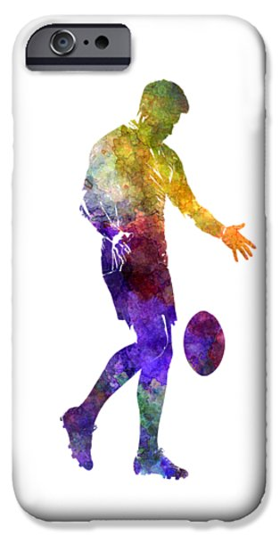 Rugby Man Player 02 In Watercolor IPhone Case by Pablo Romero