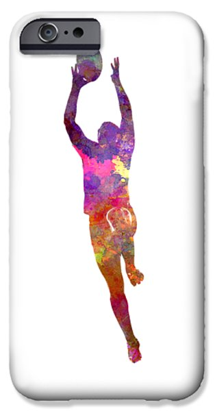 Rugby Man Player 03 In Watercolor IPhone Case by Pablo Romero