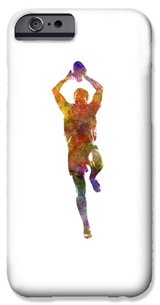 Rugby Man Player 04 In Watercolor IPhone Case by Pablo Romero