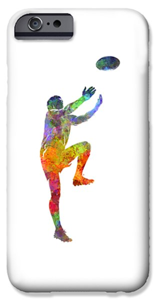 Rugby Man Player 05 In Watercolor IPhone Case by Pablo Romero